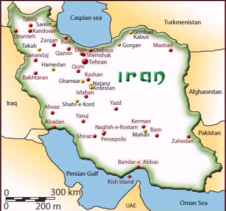 iran tours map