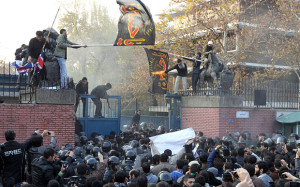 British Embassy in Tehran was stormed and ransacked by a group of hardline student protestors